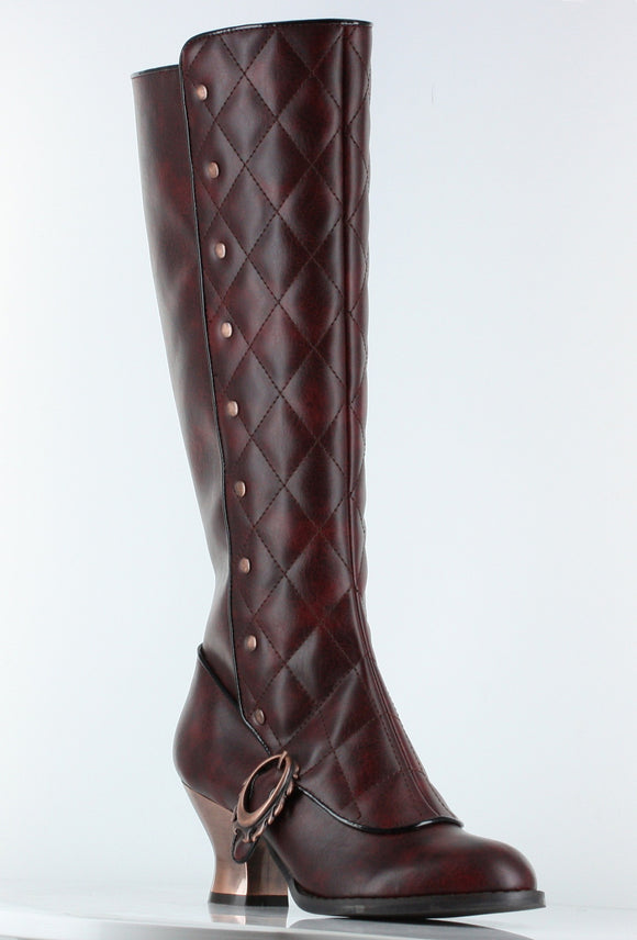 Hades Shoes - Victoriana Burgundy Boots - Egg n Chips London
