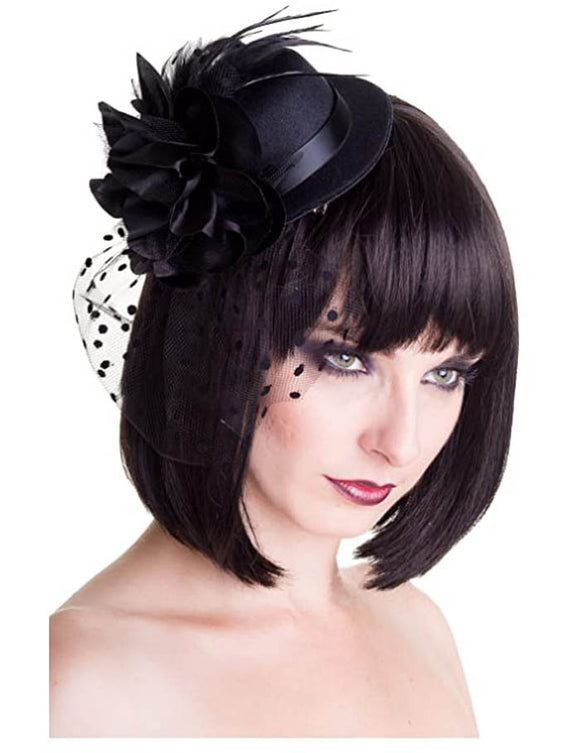 Banned Apparel - Vintage Black Hat Fascinator - Egg n Chips London