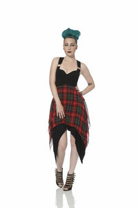 Jawbreaker - Warrior Tartan Crossover Back Asymmetric Punk Dress - Egg n Chips London