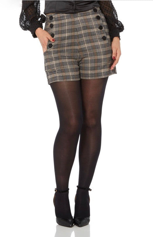 Voodoo Vixen - Whitney High Waisted Plaid Shorts - Egg n Chips London