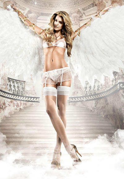 Baci Lingerie - Seduction White Softcup Lace Mesh Bra plus Garter Skirt - Egg n Chips London