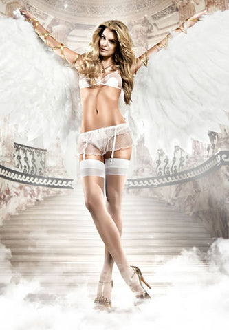 Baci Lingerie - Seduction White Softcup Lace Mesh Bra plus Garter Skirt
