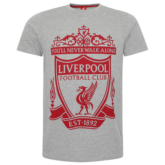 Liverpool FC Crest T Shirt Mens Grey M