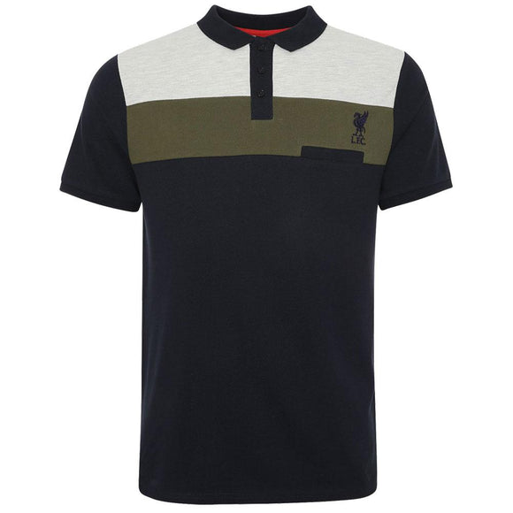 Liverpool FC Colour Block Polo Mens Navy XXL