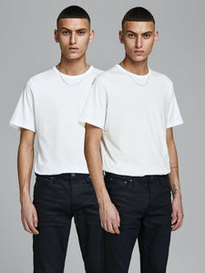 Basic Crew Neck Tee 2-Pack - White / S - T-SHIRT HERR, JACK