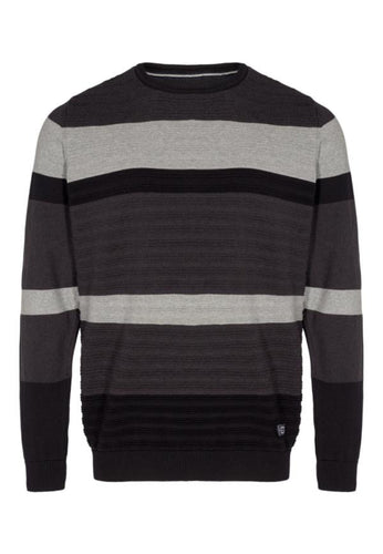 Stan Stripe Knit - Black / S - STICKAT GRÅ, HERR, L, M, S