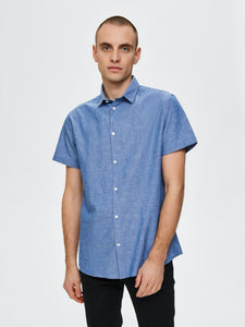 Linen Shirt - Medium Blue Denim / S - SKJORTOR - SHORT