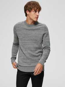 Isak Structure Crew Neck - Dark Grey / S - STICKAT GRÅ,
