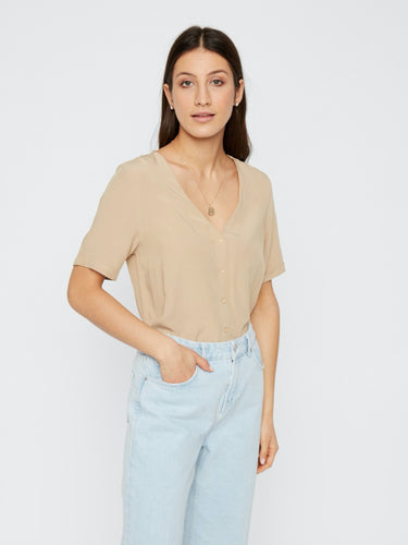 Cecilie Top - White Pepper / XS - TOPPAR BEIGE, BLUS,