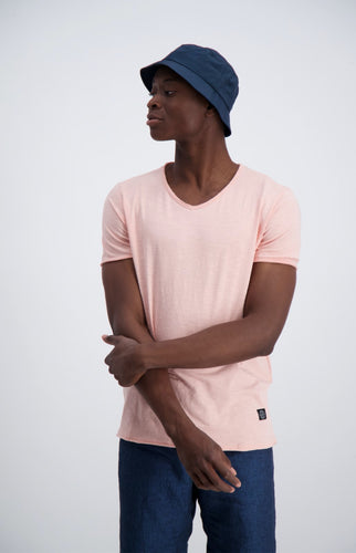 Raw Neck Slub Tee - Light Pink / S - T-SHIRT HERR, L, M,