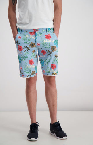 Aloha Stretch Chino Shorts - Blue / S - SHORTS BLOMMIG, BLÅ,