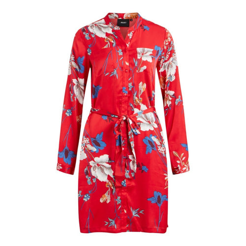 Pammy Birdy Shirt Dress - Fiery Red / 36 - KLÄNNINGAR DAM,