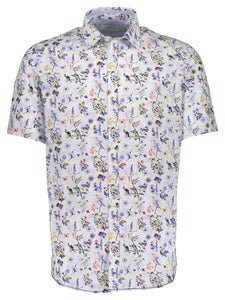 Floral Print Stretch Shirt - SKJORTOR - SHORT SLEEVE 3XL,