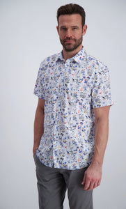 Floral Print Stretch Shirt - White / M - SKJORTOR - SHORT