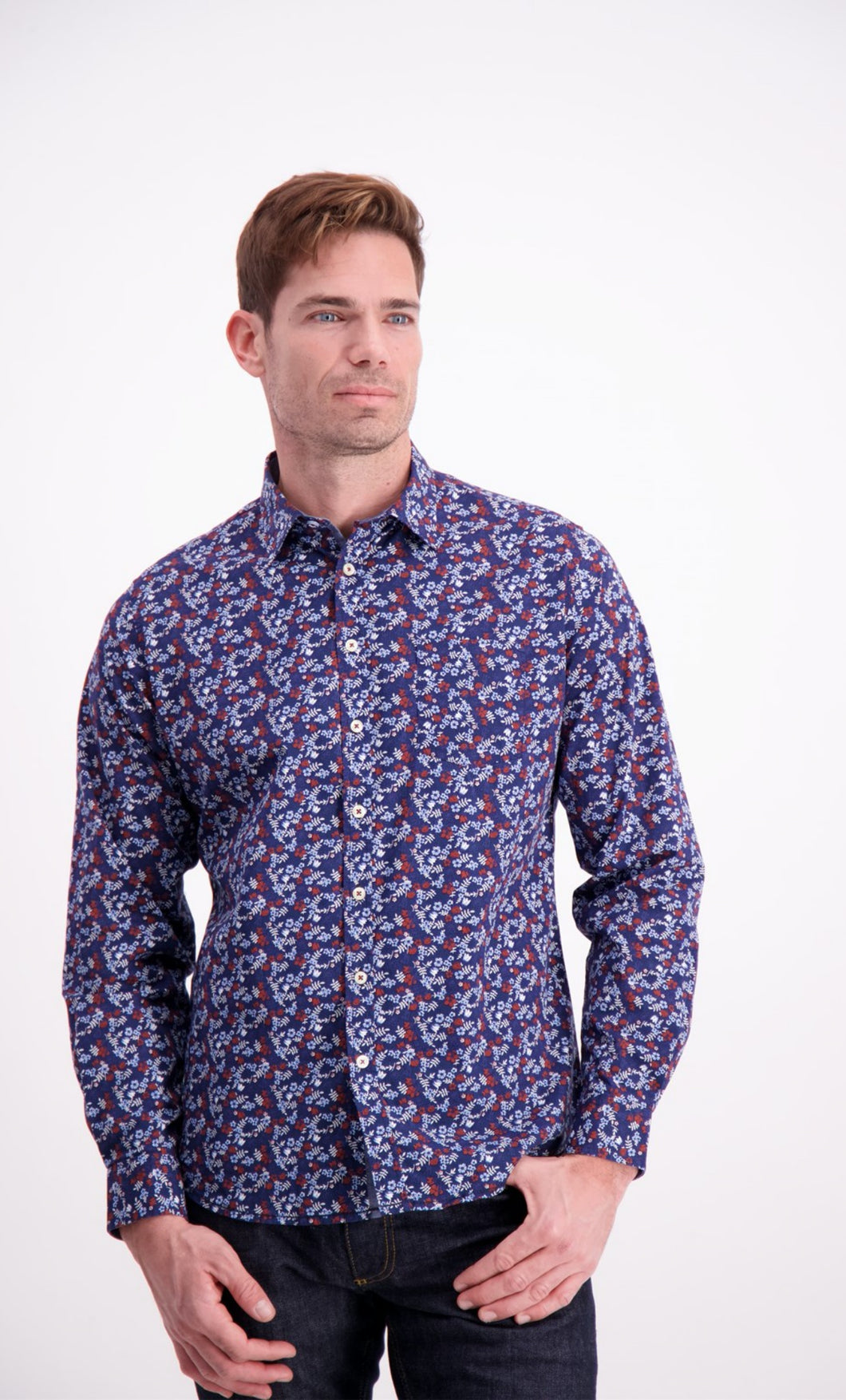 Floral Stretch Shirt - Blue / M - SKJORTOR - LONG SLEEVE