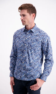 Floral Stretch Shirt - Navy / M - SKJORTOR - LONG SLEEVE