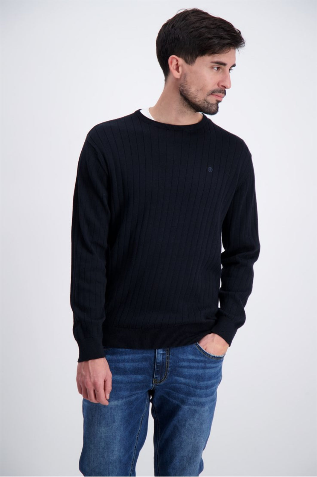 Drop Needle O-Neck Sweater - Navy / M - STICKAT 3-810002,