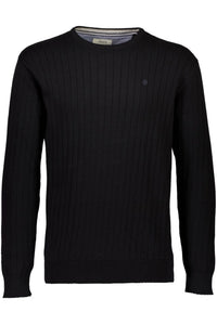 Drop Needle O-Neck Sweater - Black / M - STICKAT 3-810002,
