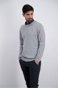 Drop Needle O-Neck Sweater - Grey Mel / M - STICKAT