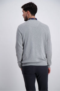Drop Needle O-Neck Sweater - STICKAT 3-810002, 3XL, GRÅ,