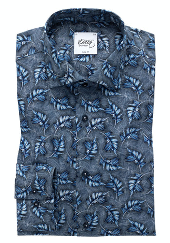 Oscar Feather Printed Shirt - Marin / 40 - SKJORTOR - LONG