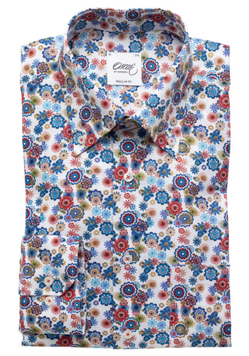 Oscar Flower Print Shirt - White / 40 - SKJORTOR - LONG