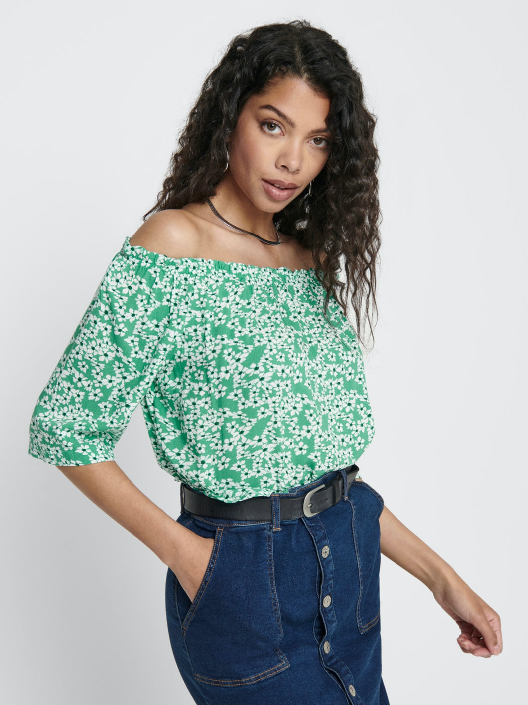 Starr Life 3/4 Offshoulder Top - Sea Green / 36 - TOPPAR 34,