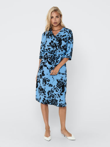 Lion 3/4 Wrap Dress - Silver Lake Blue / 34 - KLÄNNINGAR 34,