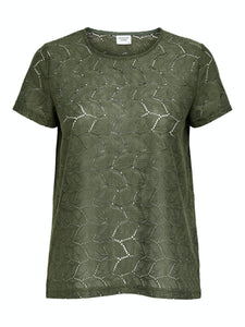 Tag S/S Lace Top - Forest Night / XS - TOPPAR DAM, GRÖN, L,