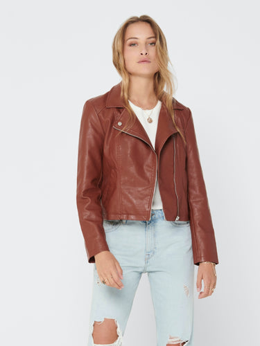 Simba Faux Leather Jacket - Cherry Mahogany / 34 - JACKOR