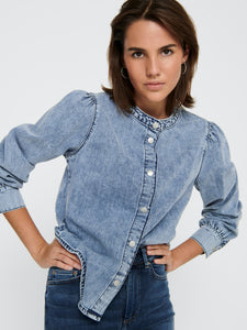 Dortea Life Puff Sleeve Denim Top - BLUSAR 15222073, BLUS,