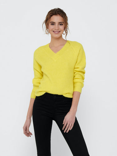 Sandy V-Neck Pullover - Yellow Cream / XS - STICKAT
