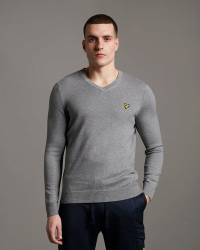 Lyle & Scott V-Neck - Mid Grey Marl / XS - STICKAT BLACK,