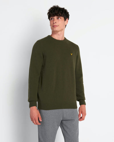 Crew Neck Lambswool - Trek Green / S - STICKAT GRÅ, GRÖN,