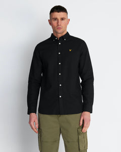 Cotton Linen Shirt - Jet Black / XS - SKJORTOR - LONG SLEEVE