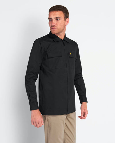 Cotton/Nylon Overshirt - Jet Black / S - SKJORTOR - LONG