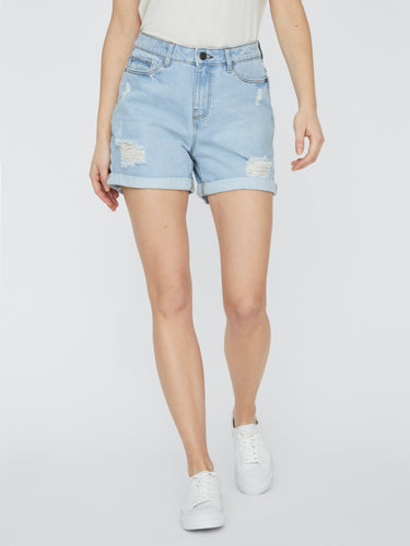 Smiley Destroyed Shorts - Light Blue Denim / XS - SHORTS