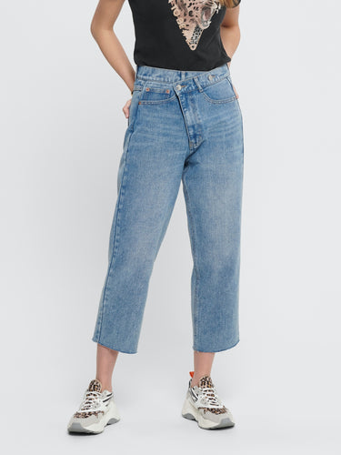 Pam Straight Crop Jeans - 32 / 25 - JEANS BLÅ, DAM, DENIM,