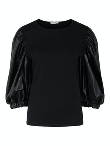 Lena 3/4 Top - Black / XS - TOPPAR DAM, L, M, PIECES, PUFF