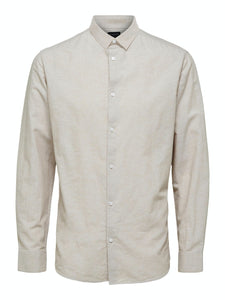 Slim New Linen Shirt - Crockery / S - SKJORTOR - LONG SLEEVE