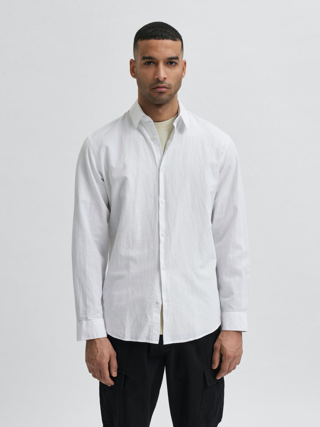 Slim New Linen Shirt - White / S - SKJORTOR - LONG SLEEVE