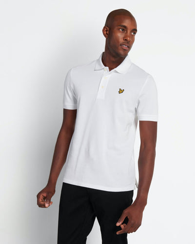 Plain Pique Polo - White / XS - PIKÉ BLACK, GRÅ, HERR, L,