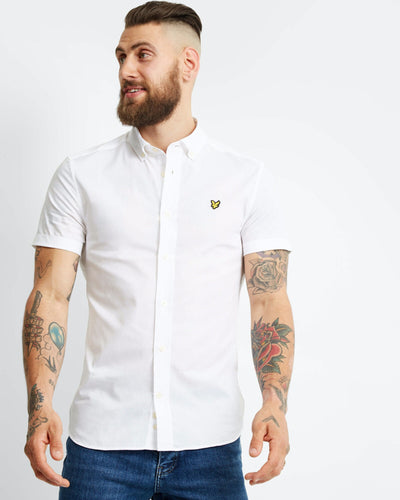 Slim Stretch Poplin Shirt - White / XS - SKJORTOR - SHORT