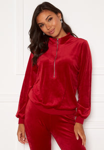 Kaylee Velour Zip Top - Red / 32/34 - TOPPAR 32, 34, 36, 38,