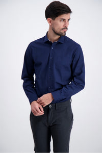 Solid Poplin Shirt - Navy / M - SKJORTOR - LONG SLEEVE