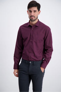 Solid Poplin Shirt - Burgundy / M - SKJORTOR - LONG SLEEVE