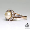 Antique Victorian 18K Gold Diamond & Pearl Ring