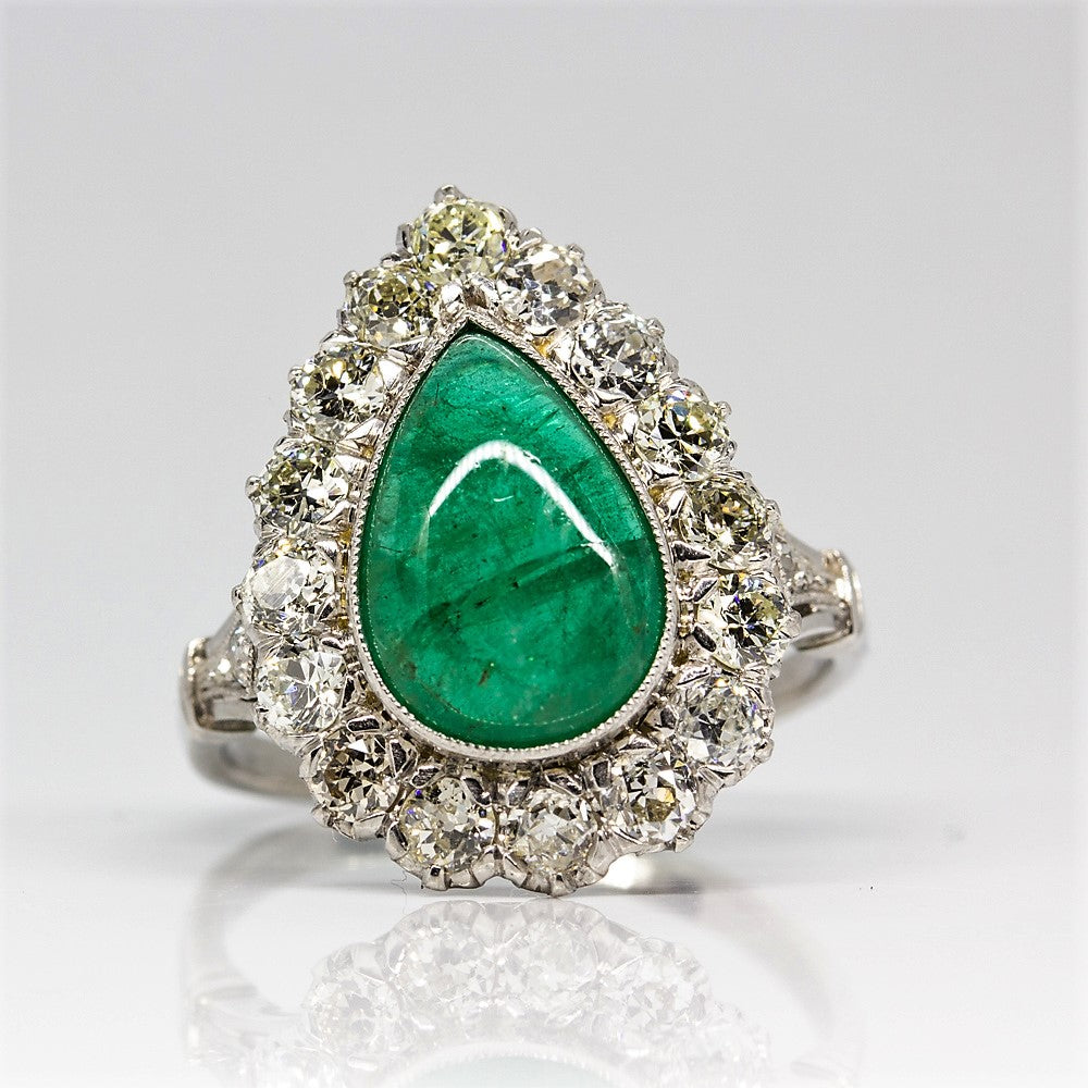Platinum Handmade Emerald & Diamonds Halo Ring