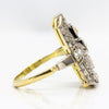 Art Deco 18K Gold & Platinum Diamonds Ring