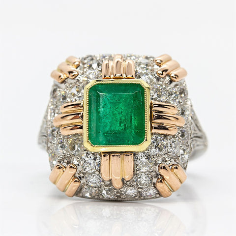 Estate 18k Gold & Platinum Emerald & Diamonds Ring